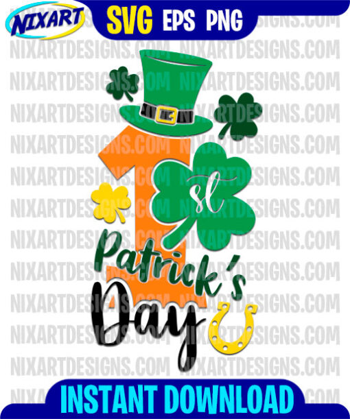 1st Patricks day svg and png files for cutting and print