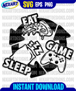 Eat Sleep Game Repeat svg and png files for cutting and print