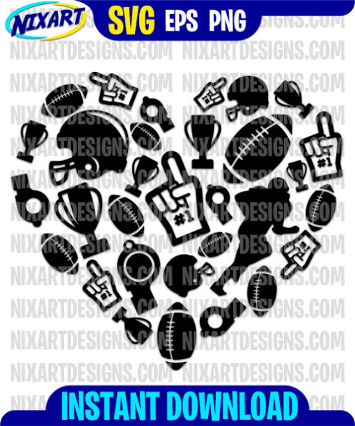 Football Heart svg and png files for cutting and print