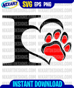 I love dog, I love cat svg and png files for cutting and print