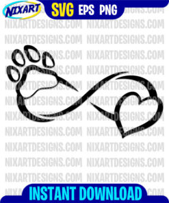 Infinity pet love svg and png files for cutting and print