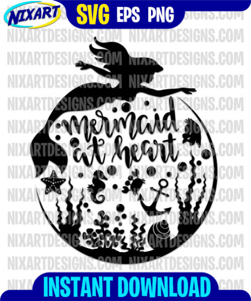 Mermaid At Heart svg and png files for cutting and print