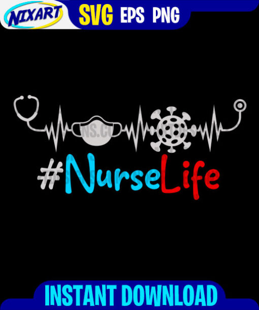 Nurse Life svg and png files for cutting and print. Version for Black