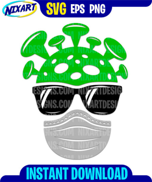 Cute virus svg and png files for cutting and print.