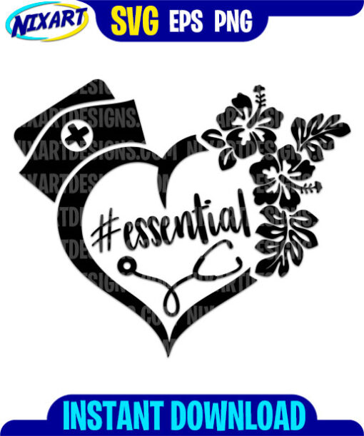Essential Nurse svg and png files for cutting and print.