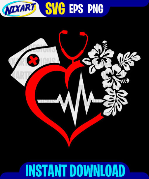 Nurse svg and png files for cutting and print. Version for Black