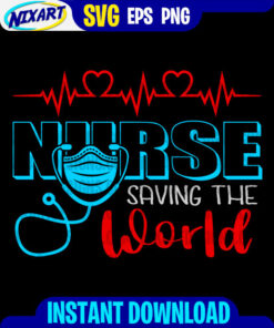 Nurse saving the world svg and png files for cutting and print. Version for Black