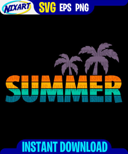 Summer svg and png files for cutting and print. Version for Black.