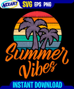 Summer Vibes svg and png files for cutting and print. Version for Black.