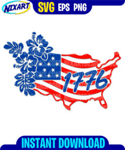 1776 Floral USA Map svg and png files for cutting and print.