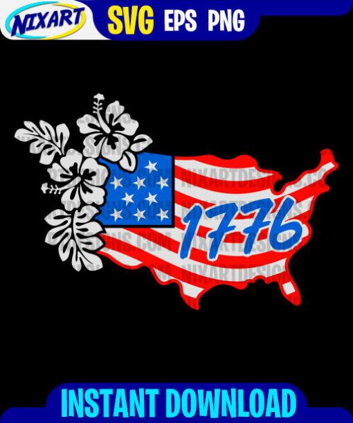 1776 Floral USA Map svg and png files for cutting and print. Version for Black.