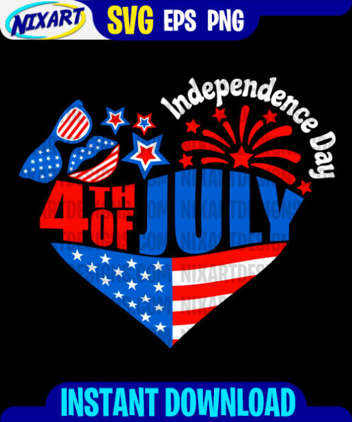 4th of July Independence Day svg and png files for cutting and print. Version for Black.
