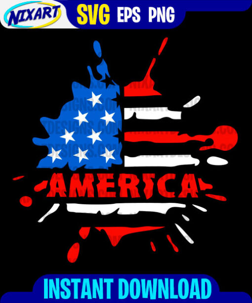 America svg and png files for cutting and print. Version for Black.