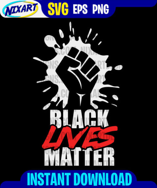 Black Lives Matter svg and png files for cutting and print. Version for Black.