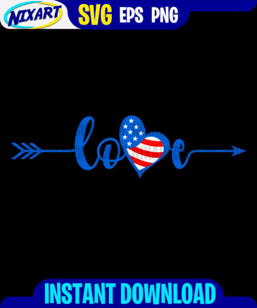 4th of July Love svg and png files for cutting and print. Version for Black.