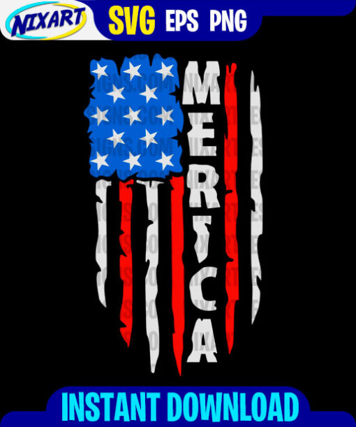 Merica flag svg and png files for cutting and print. Version for Black.