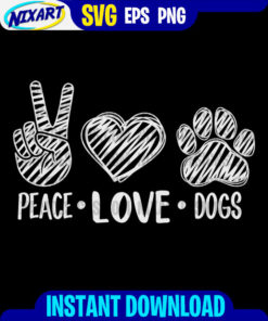Peace Love Dogs svg and png files for cutting and print. Vesrion for Black
