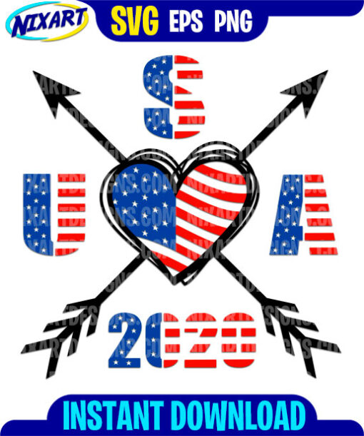 USA 2020 Heart with arrows svg and png files for cutting and print.