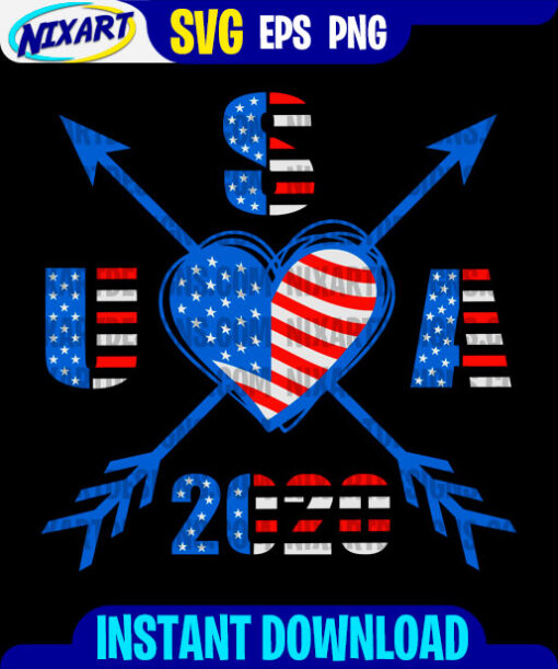 USA 2020 Heart with arrows svg and png files for cutting and print. Version for Black.