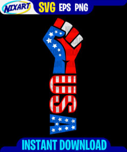 USA Fist svg and png files for cutting and print. Version for Black.