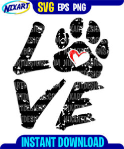Love with paw svg and png files for cutting and print.