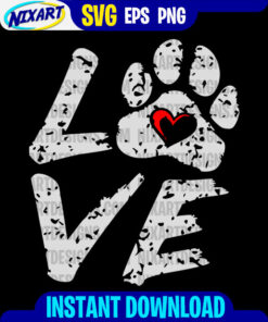 Love with paw svg and png files for cutting and print. Vesrion for Black