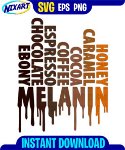 Dripping Melanin svg and png files for cutting and print.