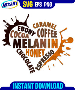 Melanin heart svg and png files for cutting and print.