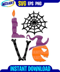 Love Halloween svg and png files for cutting and print.