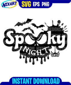 Spooky halloween night svg and png files for cutting and print.
