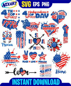 4th of July bundle svg and png files for cutting and print.