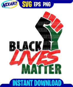 Black Lives Matter Fist svg and png files for cutting and print.
