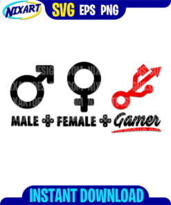 Male, Female, Gamer svg and png files for cutting and print